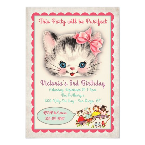 Vintage Kitty Cat Birthday Party Invitation