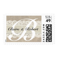 Vintage Lace & Burlap Look Wedding Postage