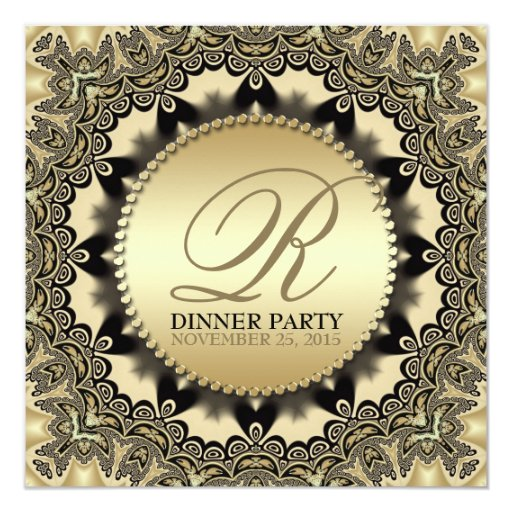 Vintage Lace Golden Dinner Party Invitations