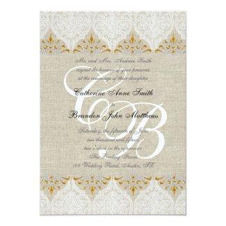 Vintage Lace Linen Gold Wedding Monogram Damask 5x7 Paper Invitation Card