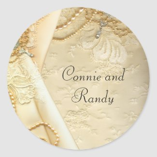 Vintage Lace Pearls Wedding Dress Sticker