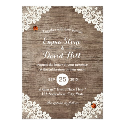 Vintage Laced Barn Wood Ladybugs Rustic Wedding Card