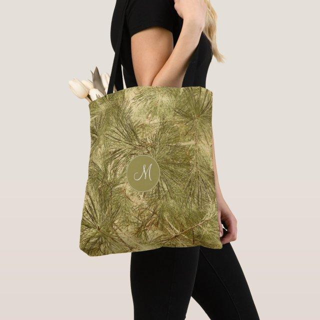 vintage look evergreen needles tote bag