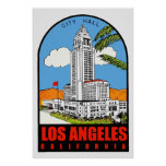 Vintage Los Angeles City Hall travel ad Poster