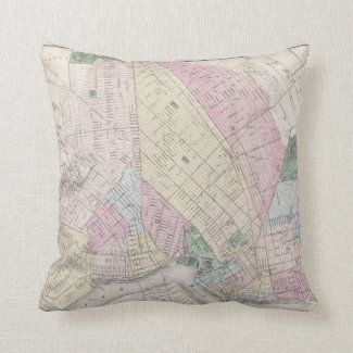 Vintage Map of Brooklyn (1873) Throw Pillow