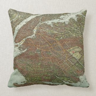 Vintage Map of Brooklyn NY (1908) Pillow