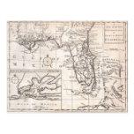 Vintage Map of Florida (1763) Postcard