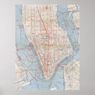 Vintage Map of Lower Manhattan (1879) Print