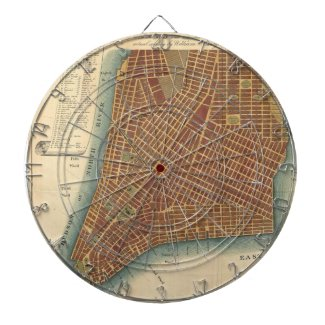 Vintage Map of Lower New York City (1807) Dartboard With Darts