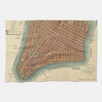Vintage Map of Lower New York City (1807) Kitchen Towel