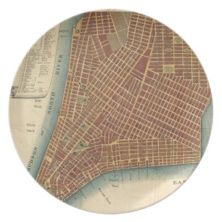 Vintage Map of Lower New York City (1807) Party Plates