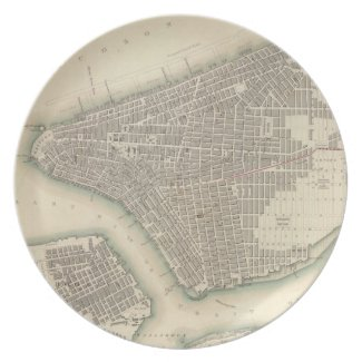 Vintage Map of Lower New York City (1840) Dinner Plates