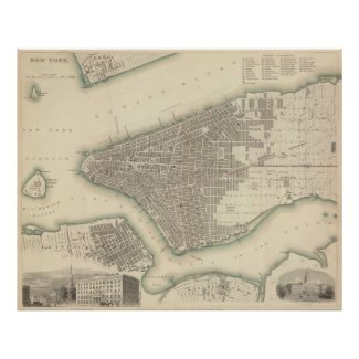 Vintage Map of Lower New York City (1840) Posters