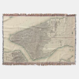 Vintage Map of Lower New York City (1840) Throw Blanket