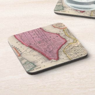 Vintage Map of Lower New York City (1860) Beverage Coasters