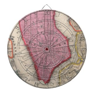 Vintage Map of Lower New York City (1860) Dartboard