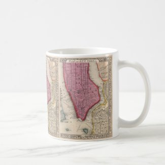 Vintage Map of Lower New York City (1860) Mug