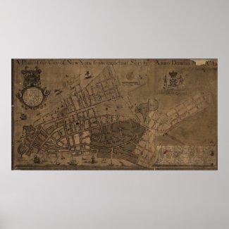 Vintage Map of New York City (1755) Print