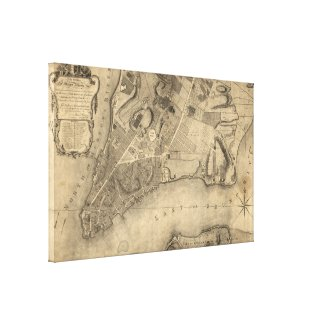 Vintage Map of New York City (1776) Canvas Print