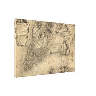 Vintage Map of New York City (1776) Canvas Print