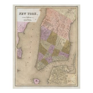 Vintage Map of New York City (1839) Print