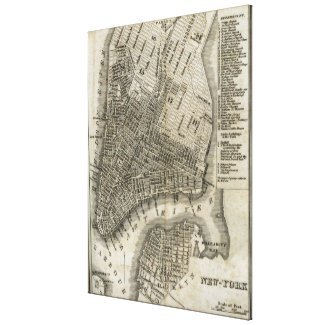 Vintage Map of New York City (1842) Canvas Print
