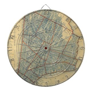 Vintage Map of New York City (1846) Dartboards