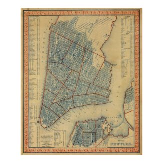 Vintage Map of New York City (1846) Print