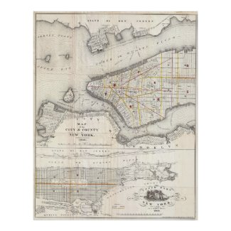Vintage Map of New York City (1860) 2 Poster