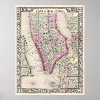 Vintage Map of New York City (1864) Print