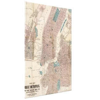Vintage Map of New York City (1867) Canvas Print