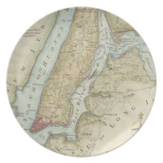 Vintage Map of New York City (1869) Party Plate