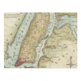 Vintage Map of New York City (1869) Post Cards