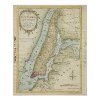 Vintage Map of New York City (1869) Poster