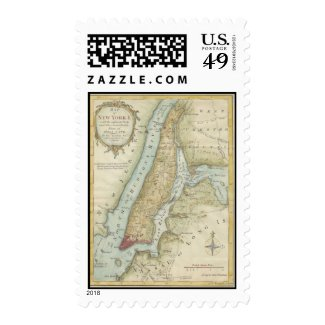 Vintage Map of New York City (1869) Stamp