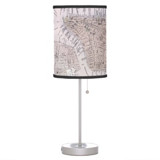 Vintage Map of New York City (1884) Desk Lamps