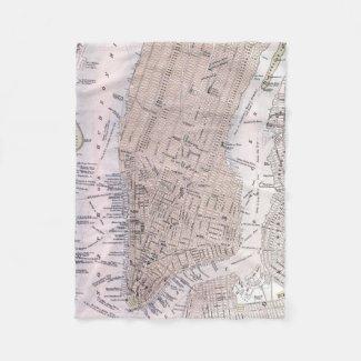 Vintage Map of New York City (1884) Fleece Blanket
