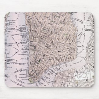 Vintage Map of New York City (1884) Mouse Pad