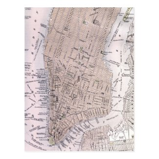 Vintage Map of New York City (1884) Post Cards