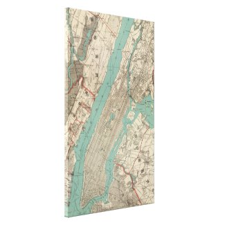 Vintage Map of New York City (1890) Stretched Canvas Print