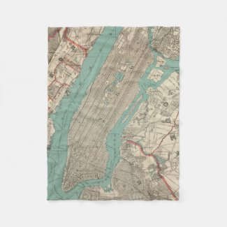 Vintage Map of New York City (1890) Fleece Blanket