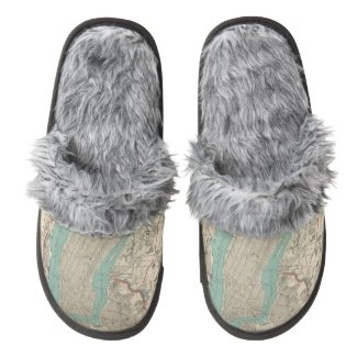 Vintage Map of New York City (1890) Pair Of Fuzzy Slippers