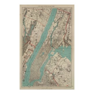 Vintage Map of New York City (1890) Posters