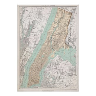 Vintage Map of New York City (1895) Posters