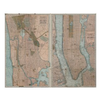 Vintage Map of New York City (1899) Poster