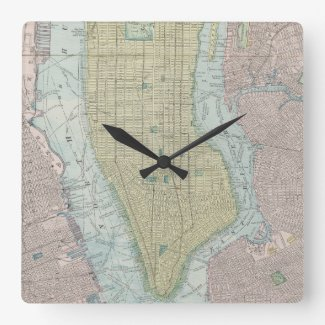 Vintage Map of New York City (1901) Square Wall Clock
