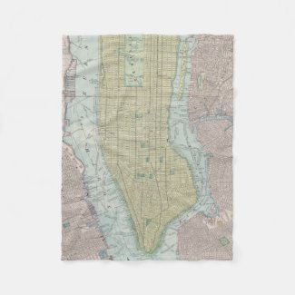 Vintage Map of New York City (1901) Fleece Blanket