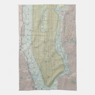 Vintage Map of New York City (1901) Towel