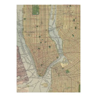 Vintage Map of New York City (1910) Poster