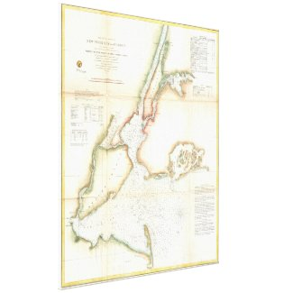 Vintage Map of New York City and NY Harbour (1857) Canvas Print